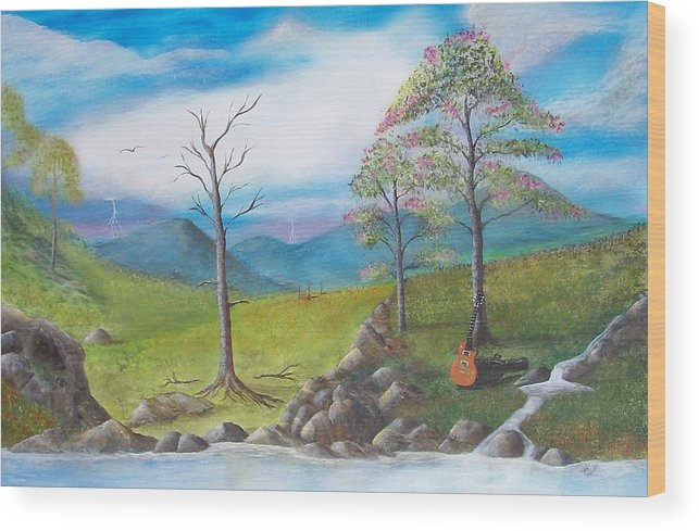 Landscape Wood Print featuring the painting Blue River by Tony Rodriguez