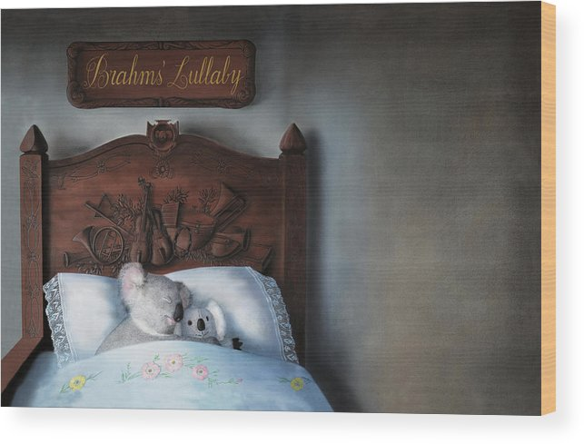 Koala Wood Print featuring the painting Brahms' Lullaby by Philippe Plouchart