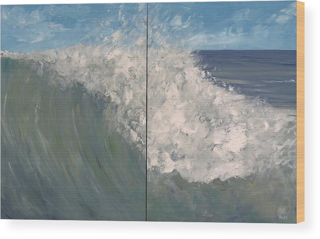 Ocean Wood Print featuring the painting Breaker Ll by Pete Maier