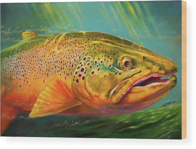 Brown Trout Wood Print featuring the digital art Brown Trout Portrait by Yusniel Santos