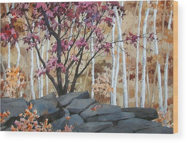 Fall Wood Print featuring the painting Burgundy On The Rocks by Faye Ziegler