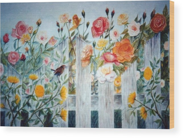 Roses; Flowers; Sc Wren Wood Print featuring the painting Carolina Wren And Roses by Ben Kiger