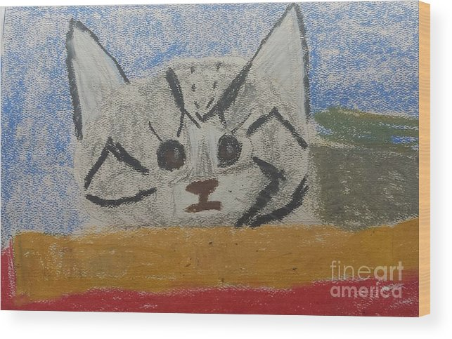 Cat Wood Print featuring the painting Cat by Epic Luis Art