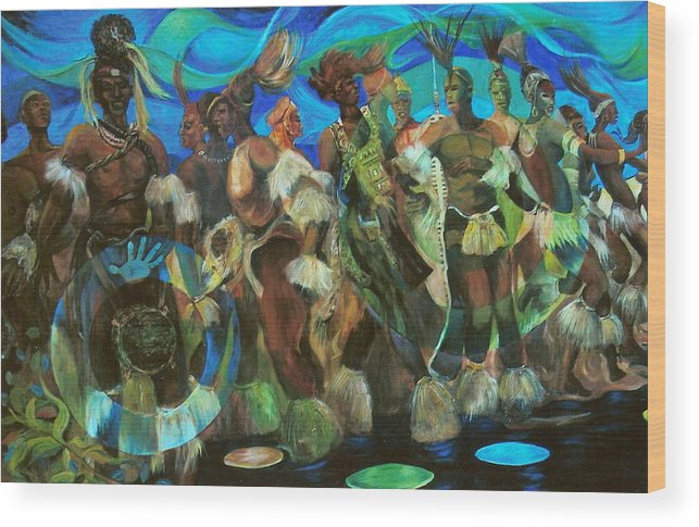 Dance Wood Print featuring the painting Ceremonial Dance Of The Mighty Zulus by Lee Ransaw