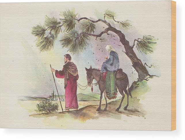 Mother Mary With Infant Jesus Wood Print featuring the painting Christmas Illustration 1221 - Vintage Christmas Cards - Mother Mary With Infant Jesus by TUSCAN Afternoon