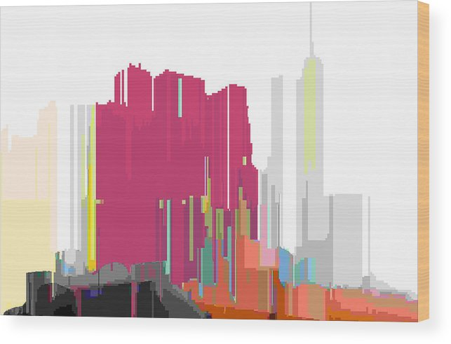 Abstract Wood Print featuring the digital art City Color 2 by Lyle Crump