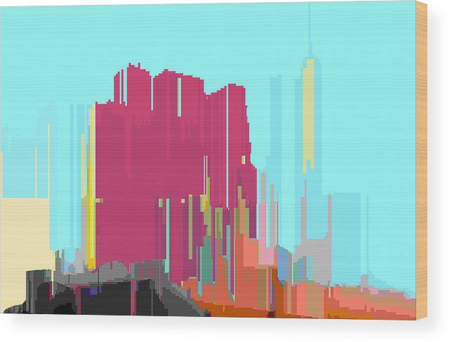 Abstract Wood Print featuring the digital art City Color 3 by Lyle Crump
