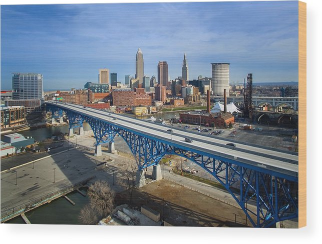 Cleveland Wood Print featuring the photograph Cleveland Skyline #1 by Bill Berris