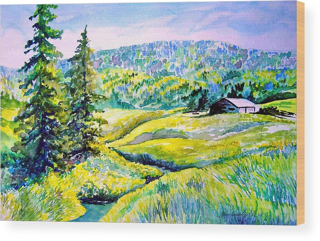 Arkansas Creek And Cottage Wood Print featuring the painting Creek To The Cabin by Joanne Smoley