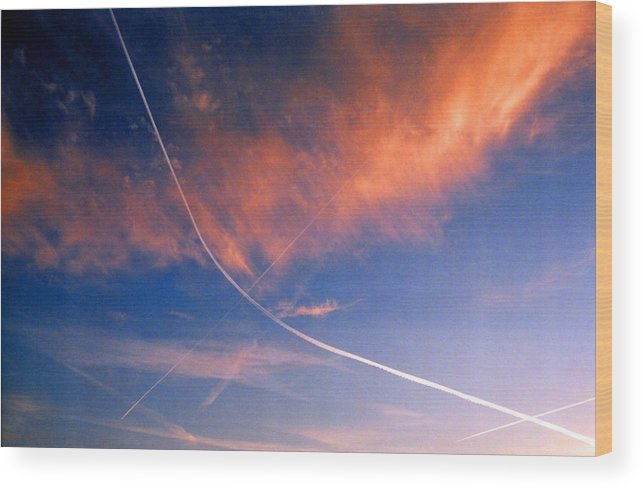 Contrails Wood Print featuring the photograph Cutting The Sky 3 by Lyle Crump