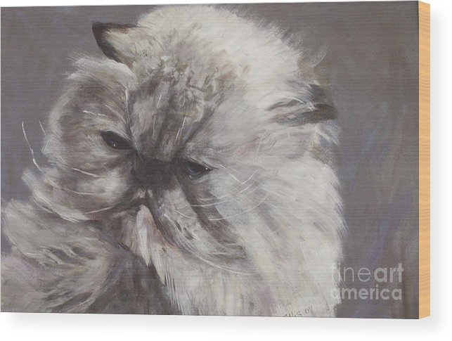 Himalayan Cat Wood Print featuring the painting Cynthia by Elizabeth Ellis