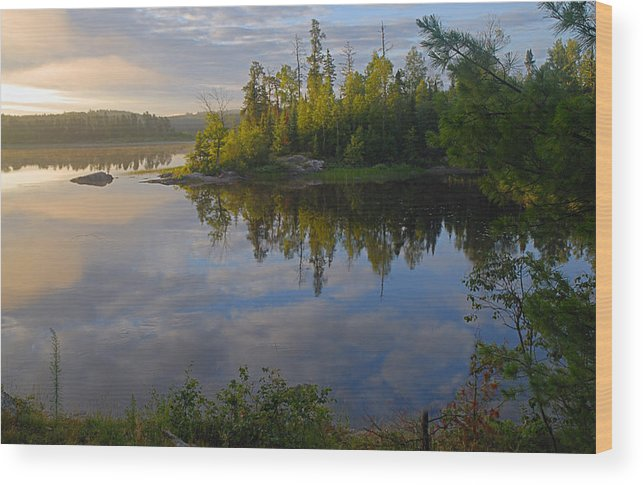 Boundary Waters Canoe Area Wilderness Wood Print featuring the photograph Dawn On The Basswood River by Larry Ricker
