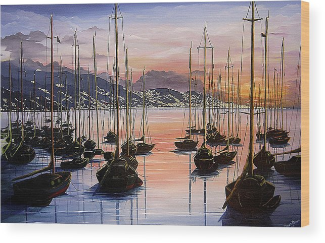 Seascape Painting Yacht Painting Harbour Painting Port Of Spain Trinidad And Tobago Painting Caribbean Painting Tropical Seascape Yachts  Painting Boats Dawn Breaking Greeting Card Painting Wood Print featuring the painting Daybreak by Karin Dawn Kelshall- Best