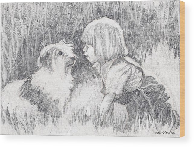 Pencil Wood Print featuring the drawing Dog Whisperer by Liisa McInnis