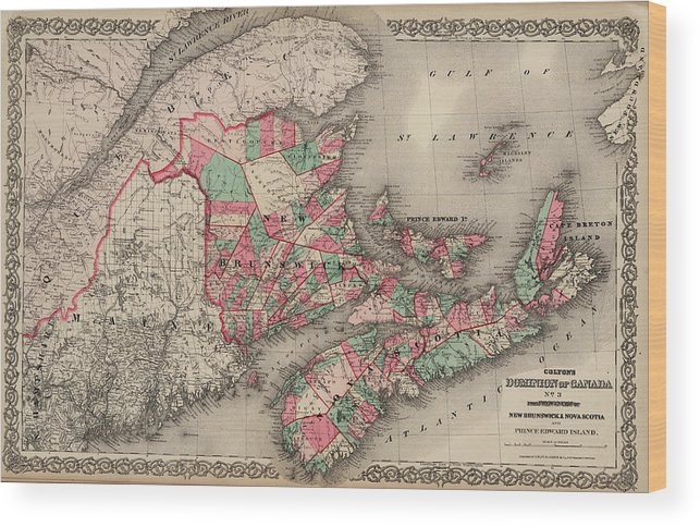 Prince Edward Island Wood Print featuring the drawing Dominion Of Canada. Provinces Of New Brunswick, Nova Scotia And Prince Edward Island by Colton