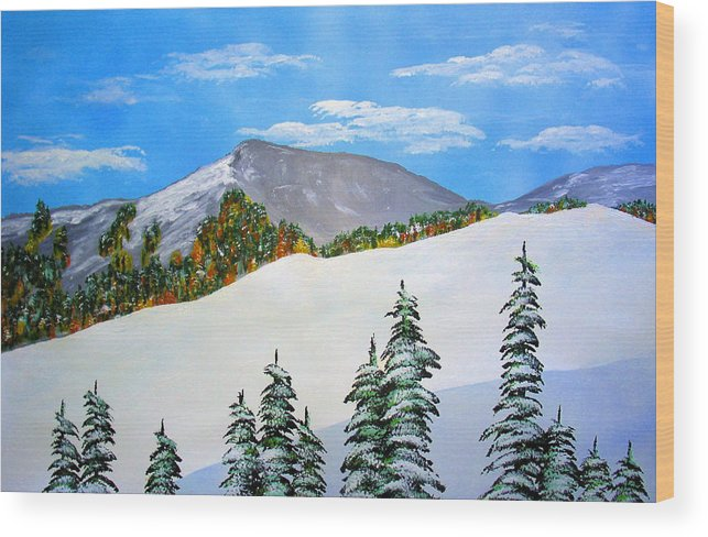 Snow Sierra Mountains Ridgeline Early Trees Fall Nature Wood Print featuring the painting Early Sierra Snow At Ridgeline by Ed Moore