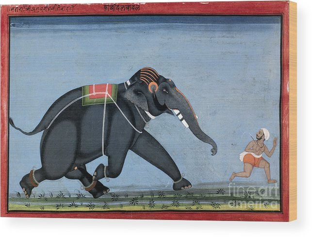 1750 Wood Print featuring the photograph Elephant & Trainer, C1750 by Granger