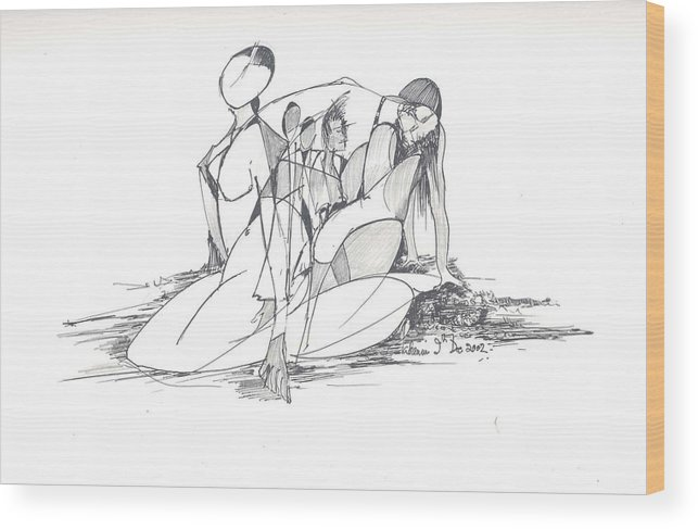 Women Wood Print featuring the drawing Entangled Women by Padamvir Singh