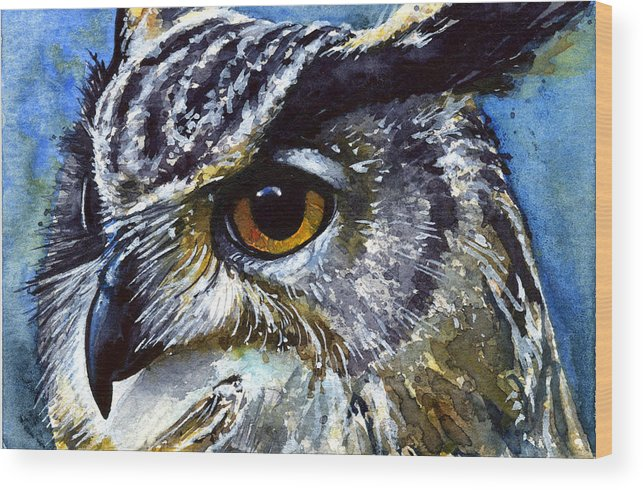 Owls Wood Print featuring the painting Eyes Of Owls No.25 by John D Benson