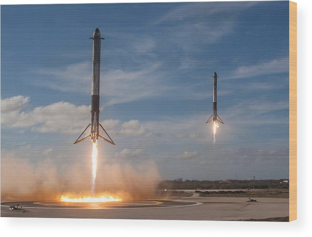 Dont Panic Wood Print featuring the mixed media Falcon Heavy Double Sideboosters Landing by Filip Hellman