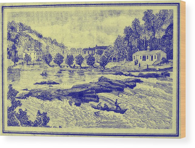 Falls Wood Print featuring the photograph Falls Of The Schuylkill And Fort St Davids 1794 by Bill Cannon
