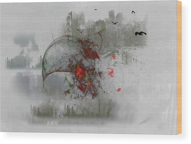 #fantasy#art#digital#war#wells#cosmos#ghost#world#colours# Wood Print featuring the digital art fantasy on theme War the Worlds by Herbert Wells by Aleksandrs Drozdovs
