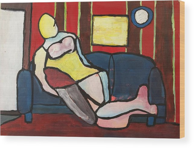 Abstract Wood Print featuring the painting Figure On Couch by Jesus Alonso