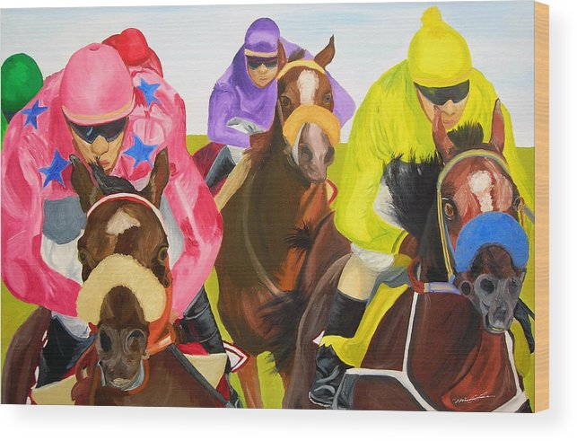 Horse Racing Wood Print featuring the painting Finish Line by Michael Lee