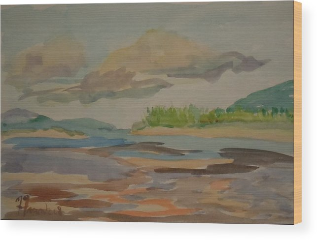 Maine Wood Print featuring the painting Floating Clouds by Francine Frank