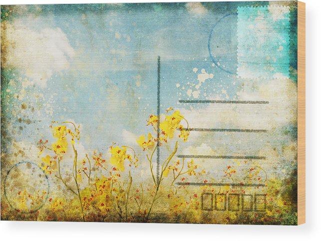 Address Wood Print featuring the photograph Floral In Blue Sky Postcard by Setsiri Silapasuwanchai