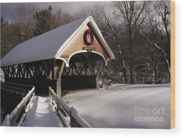 Franconia Notch State Park Wood Print featuring the photograph Flume Covered Bridge - Lincoln New Hampshire Usa by Erin Paul Donovan