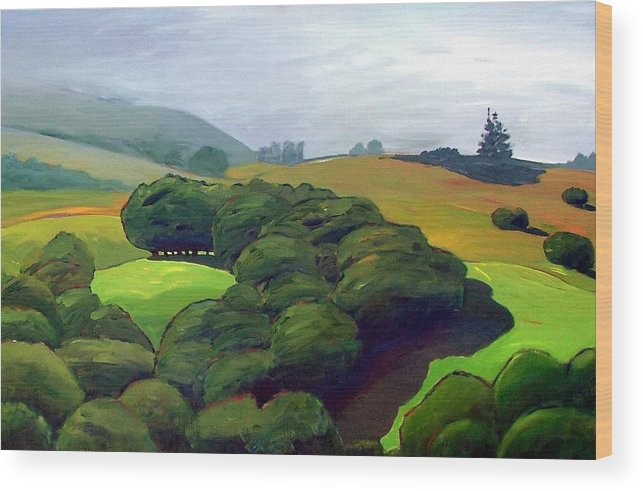 Fog. Trees. Landscape. Wood Print featuring the painting Fog Comes In by Gary Coleman
