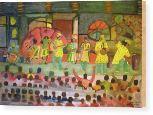 Musicians Wood Print featuring the painting Folk Play by Philip Okoro