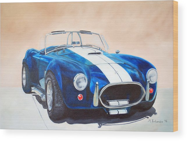 Car Wood Print featuring the painting Ford Cobra In Oil by Margaret Fortunato