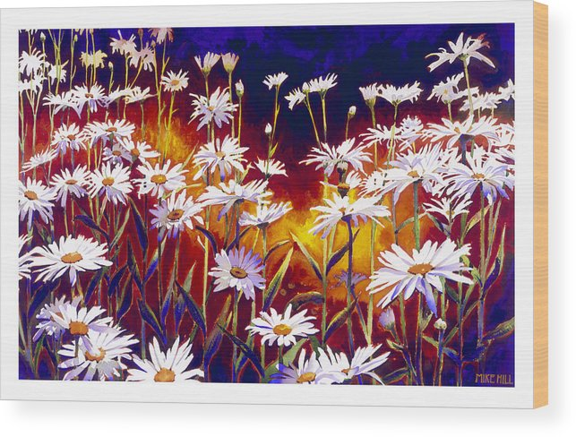 Daisy Daisies Field Flowers Warm Colors Cool Day Blues Wood Print featuring the painting Give Me Your Answer Do by Mike Hill