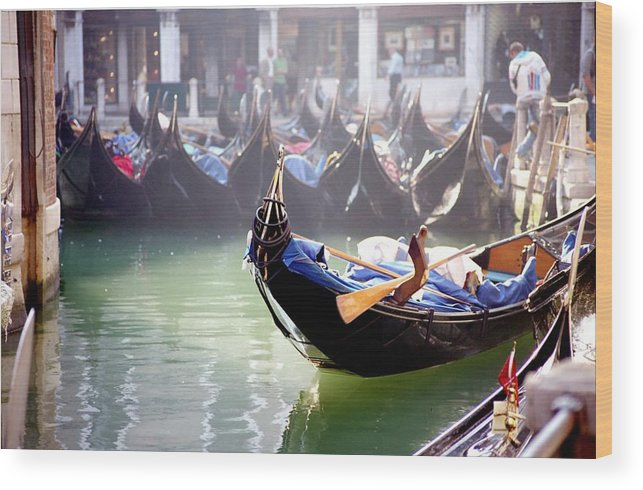 Venice Wood Print featuring the photograph Gondola In Venice In The Morning by Michael Henderson