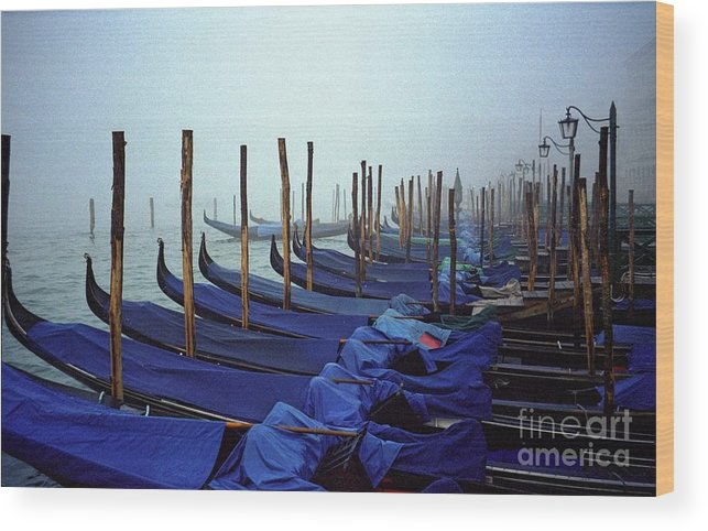 Venice Wood Print featuring the photograph Gondolas In Venice In The Morning by Michael Henderson