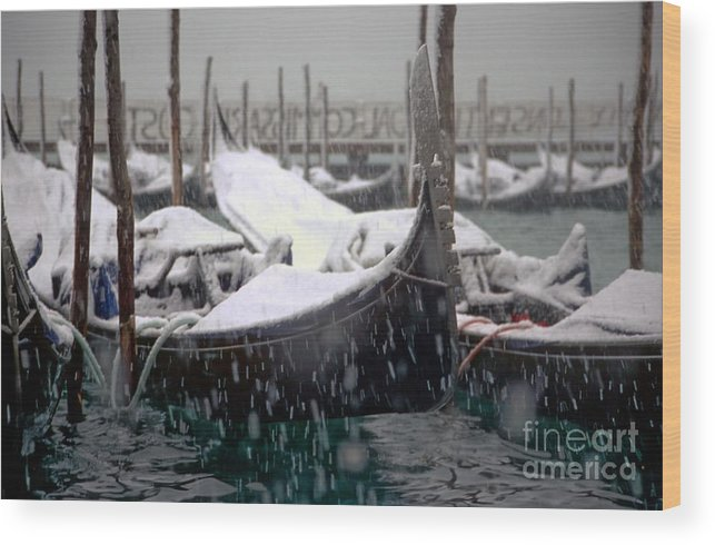 Venice Wood Print featuring the photograph Gondolas In Venice In The Snow by Michael Henderson