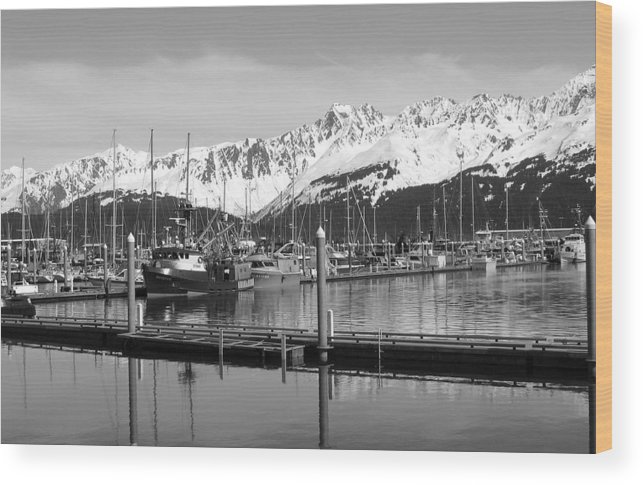 Black And White Wood Print featuring the photograph Harbor Boats by Ty Nichols