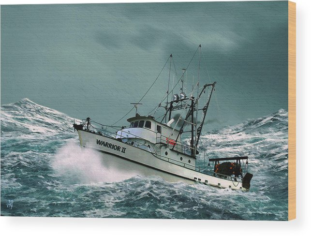 Fishing Vessel In A Rough Sea. Wood Print featuring the digital art Heading For Shelter by John Helgeson