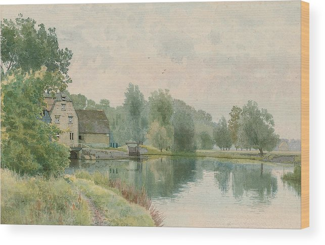 Landscape Wood Print featuring the painting Houghton Mill On The River Ouse by William Fraser Garden
