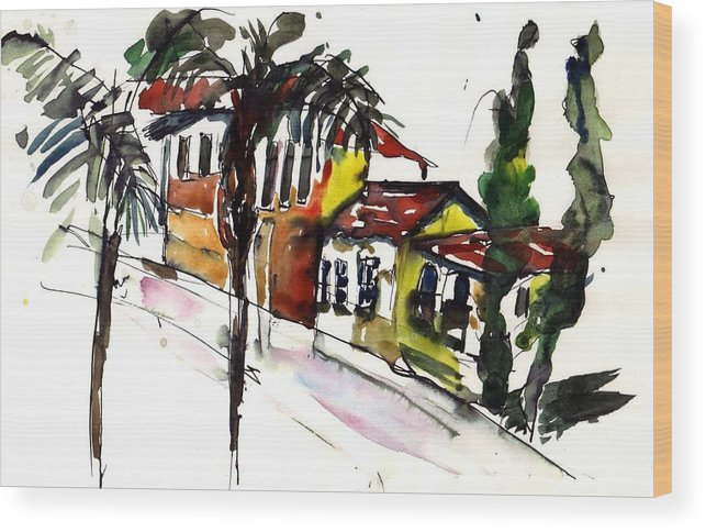 House Wood Print featuring the painting House Of Two Palms by Lily Hymen