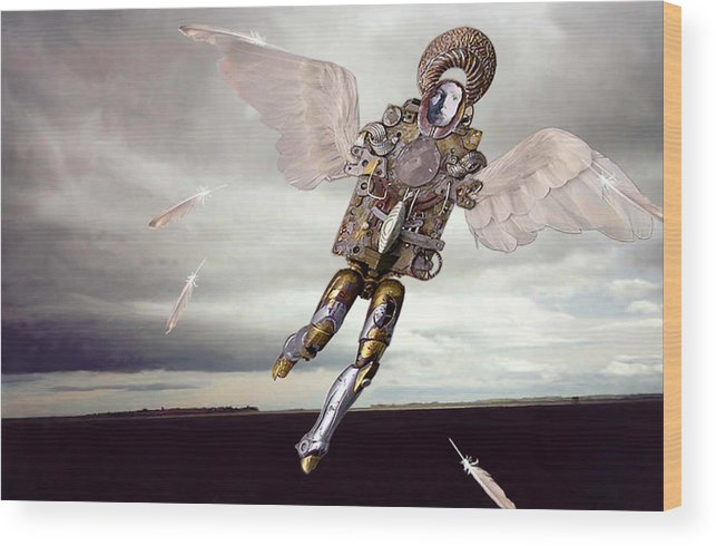 Surreal Wood Print featuring the digital art Icarus by Evelynn Eighmey