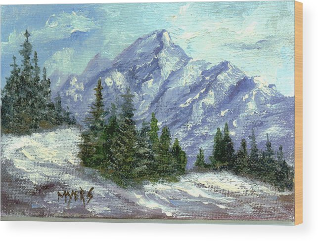 Ice Wood Print featuring the painting Icy Mountain by Rhonda Myers