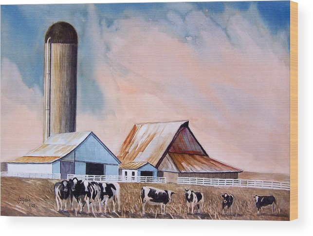 Barns; Cows ;silo Wood Print featuring the painting Illinois Farm by John Gabb