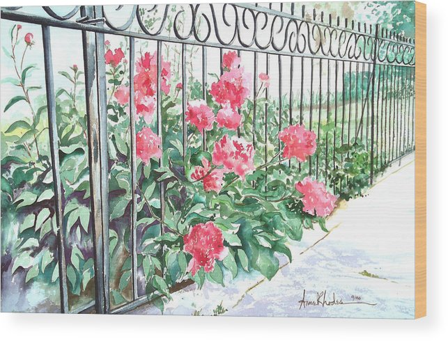 Landscape Wood Print featuring the painting Imprisoned Peonies by Anne Rhodes