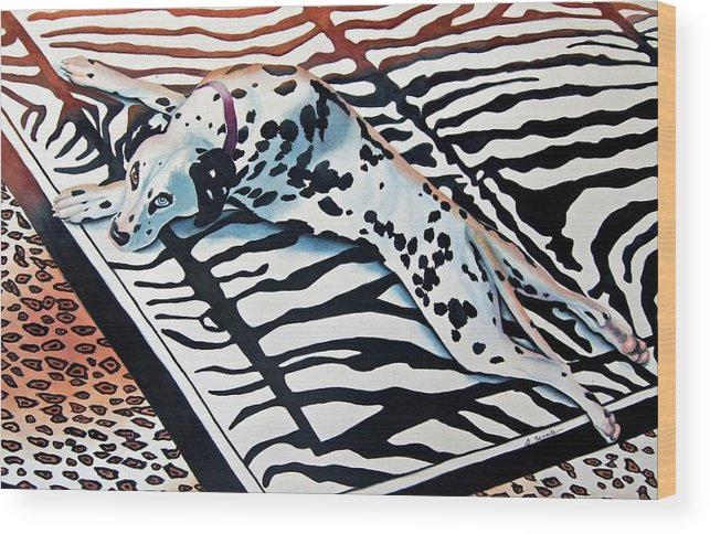 Animal/dog/dalmatian Wood Print featuring the painting Incognito by Gail Zavala