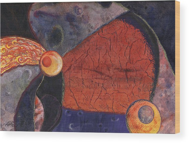 Abstract Wood Print featuring the painting Interplanetary 2 by Anne Marie ODriscoll