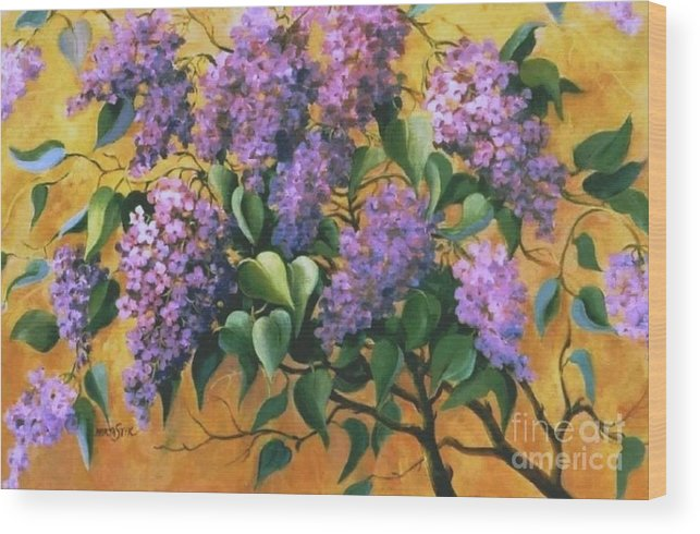 Flovers Wood Print featuring the painting It Is Lilac Time 2 by Marta Styk