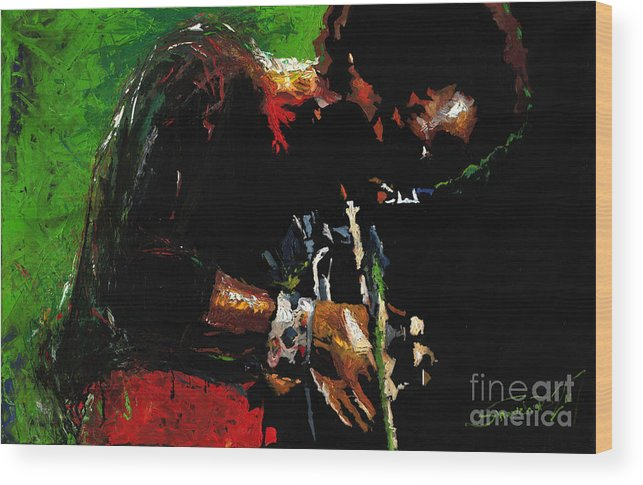 Jazz Wood Print featuring the painting Jazz Miles Davis 1 by Yuriy Shevchuk